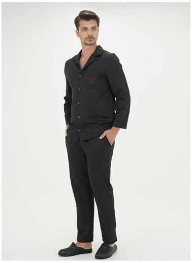 D'S Damat Pijama Takım Siyah